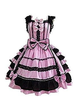 Smiling Angel Girls Sweet Lolita Dress Princess Lace Court Skirts Cosplay Costumes Pink Black Small