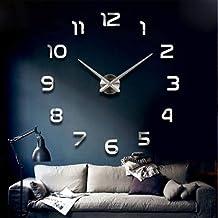 ساعة حائط لاصقة بتصميم بدون اطار من الاكريليك ثلاثي الابعاد ذاتي التركيب، لون فضي