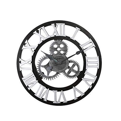 Hclshops - Reloj de pared de madera, diseño vintage, para oficina en casa, sin batería, plata, 50 cm (color: plata, tamaño: 50 x 5 cm)