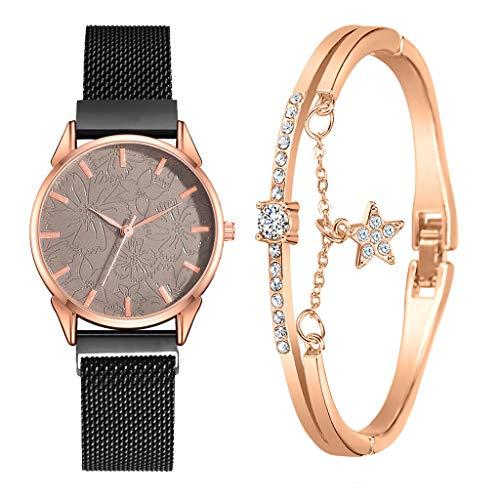Anglewolf Armband Damen Uhr Set Anhänger Analog Quarzuhr mit PU Leder Schmuck Geschenk Set