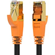 Network Cable, Shielded Ethernet Cable, Cat8 15ft Cable, Gold Plated RJ45 Connectors, 26AWG Cat8 Network Cable, Weatherproof 40Gbps 2000Mhz S/FTP LAN Cables for Gaming, Xbox, Modem, Router, PC