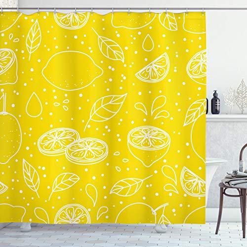 ABAKUHAUS Gelb & Weiß Duschvorhang, Juicy Zitronen, Personenspezifisch Druck inkl.12 Haken Farbfest Dekorative mit Klaren Farben, 175 x 200 cm, Gelb Weiß