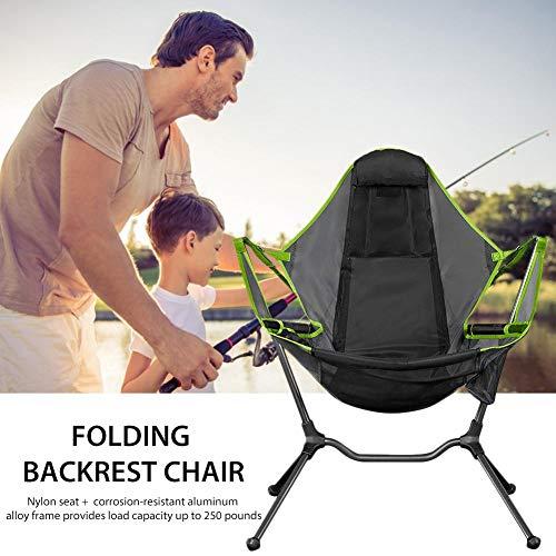Silla plegable para camping, silla de columpio, silla de camping plegable, con cojín para pescar al aire libre