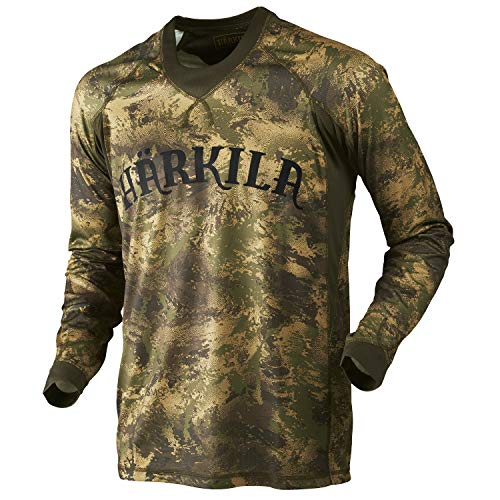 Härkila T-shirt à manches longues pour homme Lynx AXIS MSP® Forest Green - Respirant - Camouflage - Multicolore - Small