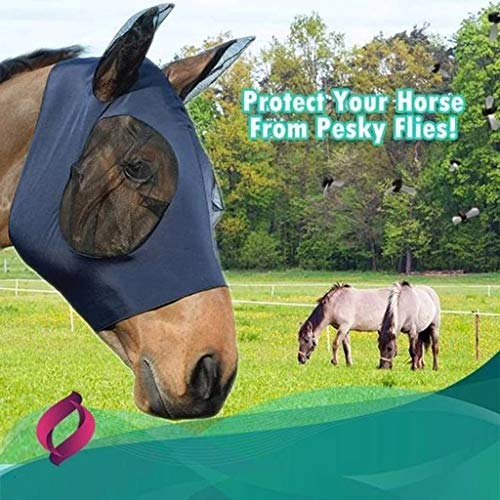 Tomsi Comfort Fit Fly Mask Mesh Equine Mask Comfort Fit Fly Mask Protects Eyes and Ears (Navy)