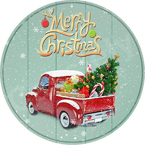 HGEVJ Merry Christmas! 12inches Retro Metal Sign Vintage Tin Sign Round Sign Christmas Party Supplies Decorations Christmas Sign