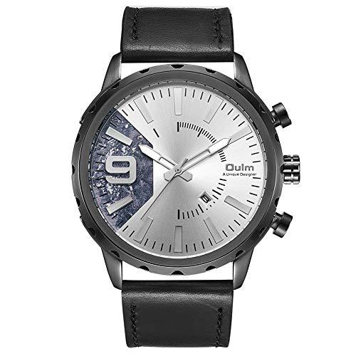 Oulm HP-3640 - Reloj de cuarzo para hombre, esfera grande, correa de piel sintética, calendario, color blanco