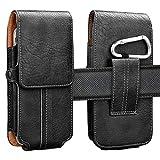 Njjex Cell Phone Holster for LG Stylo 6 5 4 K92 K51 K40 K31 K22 V60 ThinQ Moto E7 E6 G9 Play G Fast G Power G Stylus 2021 OnePlus 9 8 7 Pro Google Pixel 5 4a 3a PU Leather Belt Clip Pouch Holder Case