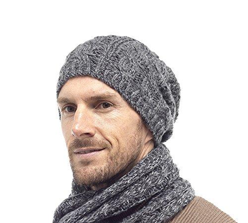 I-Small Bonnet Beanie tricoté Homme (Gris)