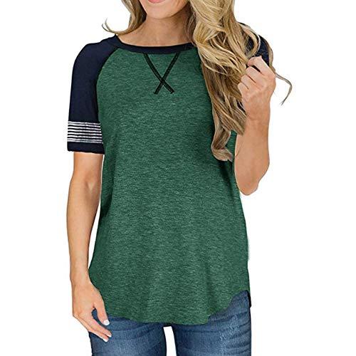 Camiseta de Manga Corta para Mujer, Cuello Redondo, Costura, Color a Juego, Suelto, Simple, Diario, básico, Informal, Jersey S