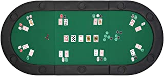 """PEXMOR 10 Player 79""""x36"""" Portable Foldable Poker Table Top Oval Tri-Fold Poker Table Topperwith Carrying Case (Green/Black)"""