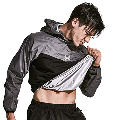 HOTSUIT Sauna Suit Men Weight Loss Jacket Pant Gym Workout Sweat Suits, Gray, L