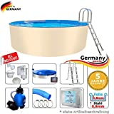 Germany-Pools Stahlwandbecken 360 x 125 cm Komplettset Stahlwandpool 3,6 Rundpool Poolbecken Gartenpool Schwimmbecken Swimmingpool Einbaupool 3,60 Pool Set