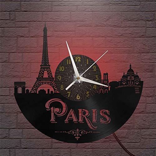 Paris Reloj de Pared LED con Disco de Vinilo de 12 Pulgadas, Reloj de Pared de Vinilo para Cocina, hogar, Sala de Estar,Dormitorio, Escuela (C) - con Reloj de Pared LED - El tamaño del Disco es de