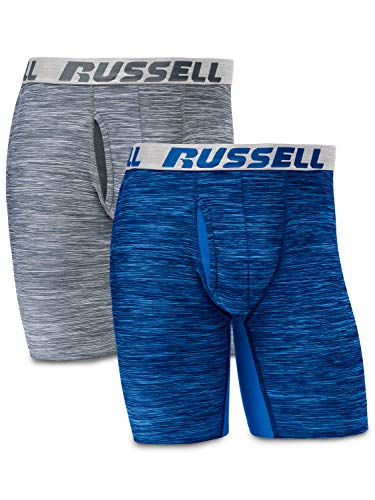 Russell Athletic Men's FreshForce Odor Protection Performance Boxer Briefs (2 Pack), Grey/Blue, Large