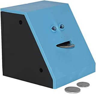 Convenient Gadgets & Gifts Face Bank Coin Eating Savings Bank - Blue (Red Available) - Kids Savings Bank or Novelty Gift Piggy Bank