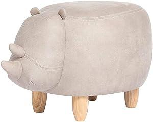 Shoe Bench Baby Sitting Stool Cow Animal Shoe Stool Cute Rhino-shaped Stool Fashion Sofa Stool Creative Solid Wood Stool For Entryway Hallway Living Room Bathroom ( Color : White , Size : 67x43x40cm )