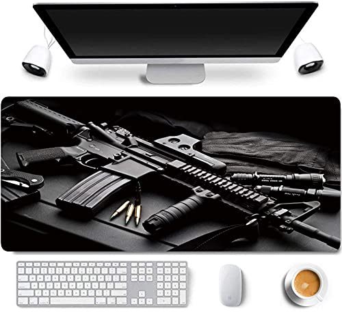 31.5x11.8 Inch AK47 Gun Extended Large Gaming Mouse Pad with Stitched Edges Keyboard Mouse Mat