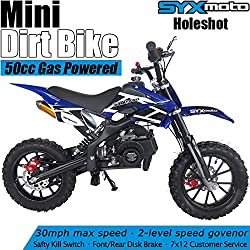 SYX MOTO Kids Mini Dirt Bike Gas Power 2-Stroke 50cc Motorcycle Holeshot Off Road Motorcycle Holeshot Pit Bike, Fully Automatic Transmission, Blue