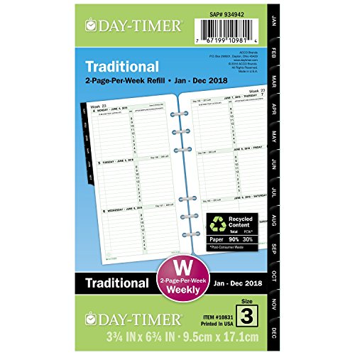 """Day-Timer Refill 2018, Two Page Per Week, January 2018 - December 2018, 3-3/4"""" x 6-3/4"""", Loose Leaf, Portable Size, Original (10831-1801)"""