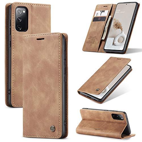 Capa carteira XYX para Samsung Galaxy S20 FE 5G, carteira de couro PU retrô textura fosca, marrom