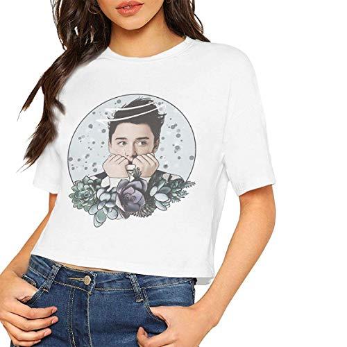 Yuanmeiju Noah Schnapp - Camiseta de manga corta para mujer, cuello redondo, color blanco
