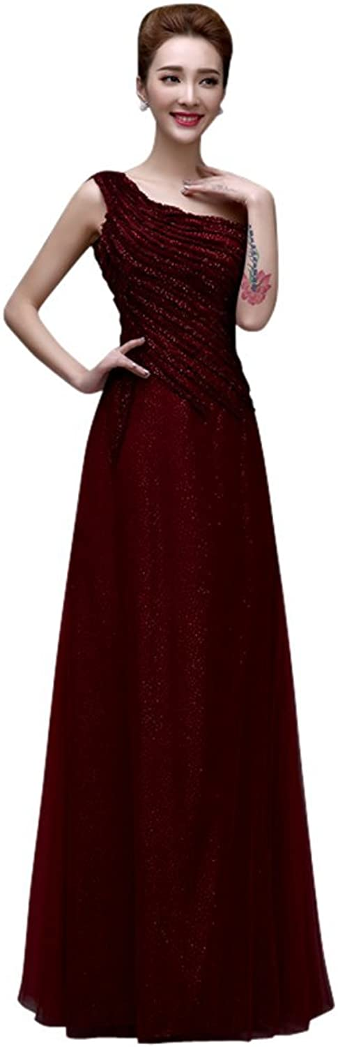 Drasawee Women's Elegant One Shoulder Sequins Wedding Party Dress Cocktail Gowns