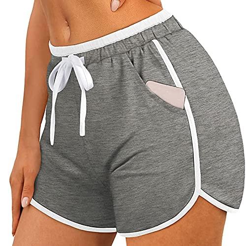 Shorts Deportivos Mujer con Cordón Ajustables Pantalón Corto Deporte de Yoga Color Sólido Pantalones Cortos Mujer con 2 Bolsillos Laterales Shorts Mujer Verano Casual Transpirables