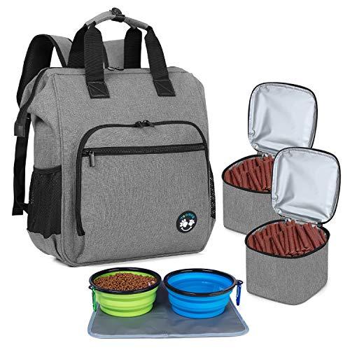 Teamoy Reisetasche für Hundeausrüstung, Haustierenrucksäcke für die Mitnahme von Tiernahrung, Leckereien, Spielzeug und andere wichtige Dinge, ideal für Reisen, Camping oder Tagesausflüge, Grau