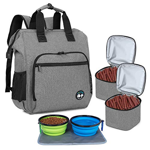 Teamoy Dog Travel Backpack, Pet Supplies Bag Tote with 2 Silicone Collapsible Bowls, 2 Food Carrier, 1 Water-Resistant Placemat, Gray