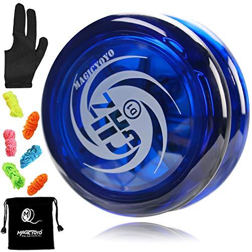 MAGICYOYO D1 GHZ Looping Yoyo Responsive Yoyo Ball for kids, Beginner Yoyo, Easy to Play and Practise Basic Looping Tricks, with 6 Yoyo Strings, Yo-Yo Glove, Yo Yo Bag (D1 - Blue)