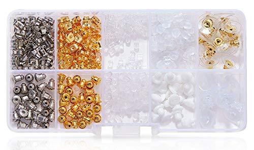 Gresunny 10 estilos tuercas para pendientes tapones de pendientes metal goma plástico respaldos de pendientes cierres de pendientes de forma flor mariposa bala tapón de pendientes oro y plata 530pcs