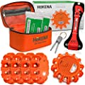 HOKENA LED Road Flares Roadside Emergency Kit - 5 Pack Roadside Safety Discs w/Emergency Blanket, Window Breaker Seatbelt Cutter Tool, Premium Road Flare Storage Bag & More