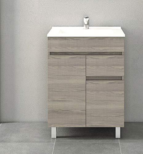 Mueble de baño con Lavabo de Porcelana - 2 Puertas y 1 Cajón amortiguado - El Mueble va MONTADO - Modelo Clif (60 cms, Estepa)