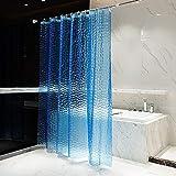 BSTT Duschvorhänge Anti schimmel Wasserdicht PEVA 3D Wasserwürfel Dekorative Badvorhang Badezimmer Duschvorhang Für Haus & Hotel Blau 180 x 180 cm