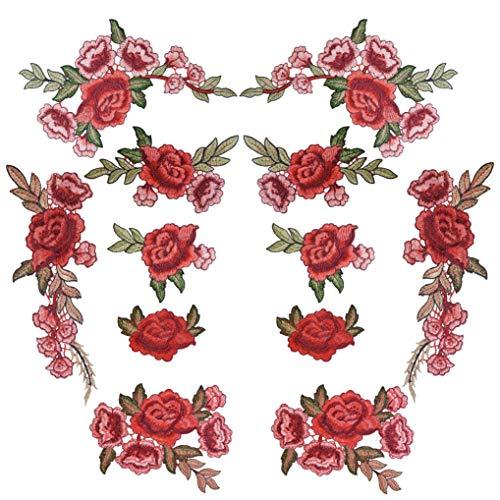 12 Stück Aufnäher Rose Blume Stickerei Applikation Patches Gestickte Flicken Aufnäher Patches für Dekor T-Shirt Jeans Hut Kleidung Mütze Schuhe