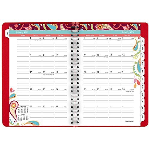 """AT-A-GLANCE Weekly / Monthly Appointment Book / Planner 2017, 5-1/2 x 8-1/2"""", Premium, Playful Paisley (952P-200) Photo #6"""