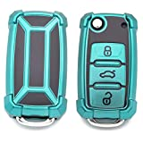 Royalfox(TM) 3 Buttons Luxury Silicone TPU flip Folding Remote Key Fob case Cover for VW Volkswagen Mk6 Bora Jetta GTI Passat Golf Tiguan Touareg Beetle (Green)