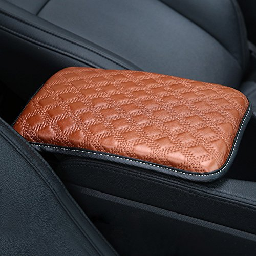 Forala Auto Center Console Pad PU Leather Car Armrest Seat Box Cover Protector Universal Fit (Black-L)