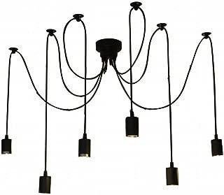 Lightess Vintage Chandelier Multiple Adjustable DIY Ceiling Spider Pendant Lighting (6 Heads)