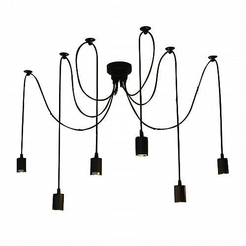 lightess vintage multiple adjustable diy ceiling spider pendant lighting  chandelier (6 heads)