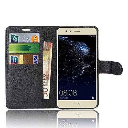 Anzhao Huawei P10 Lite Custodia Flip Cover Portafoglio con Slot per Schede Protettiva Custodia in Pelle per Huawei P10 Lite (Nero)