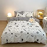 VClife Cotton Black Plaid Duvet Cover Twin Breathable Modern Constellation Printed Bedding Set with Zipper 3 Pieces Simple Style Kids Duvet Cover Set for Boy Girl, Easy Care, Lightweight (White Twin)