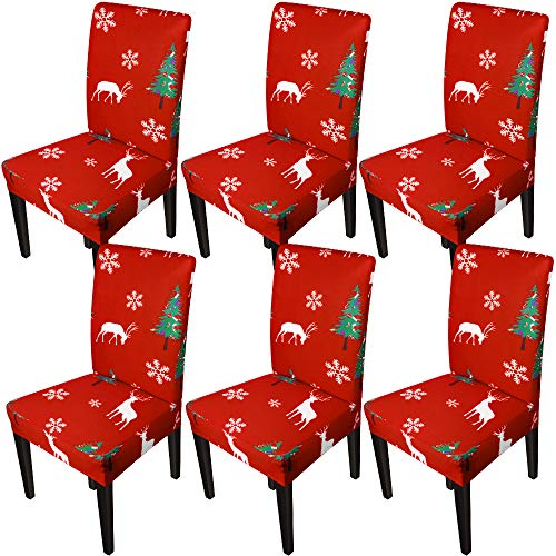 Christmas Chair Covers for Dining Room Printed Chair Slipcovers Christmas Decorations (Set of 6,Christmas Tree)