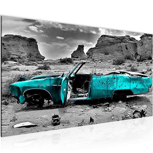 Bilder Auto Grand Canyon Wandbild Vlies - Leinwand Bild XXL Format Wandbilder Wohnzimmer Wohnung Deko Kunstdrucke Türkis 1 Teilig - MADE IN GERMANY - Fertig zum Aufhängen 602212b