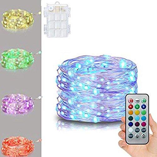 Luz de hadas con batería, luz de cadena de alambre de plata multicolor, navidad, control remoto de 21 teclas, luces de cadena impermeable regulable 5 m para la fiesta de bodas de dormitorio decoración
