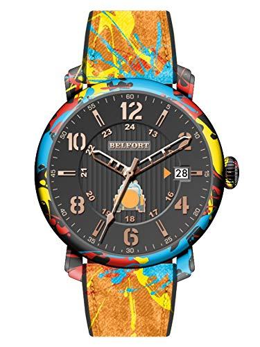 Reloj de pulsera Belfort Street Art naranja.
