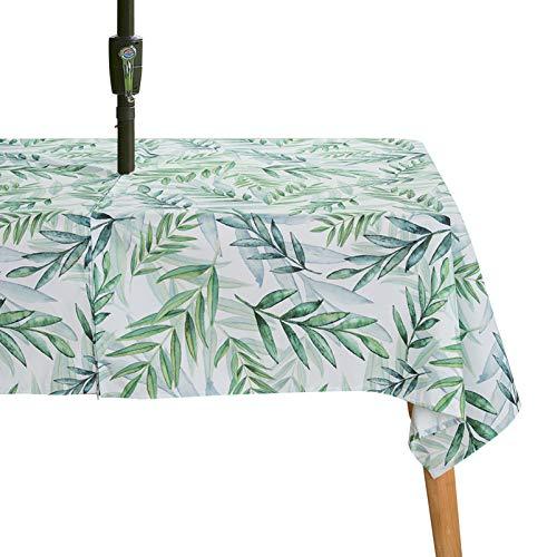 WHDJ Mantel de Mesa Floral Mantel Impermeable con Cremallera con Agujero para Paraguas, Manteles Rectangulares Cubierta de Mesa Antiarrugas para el hogar, Restaurante y Playa