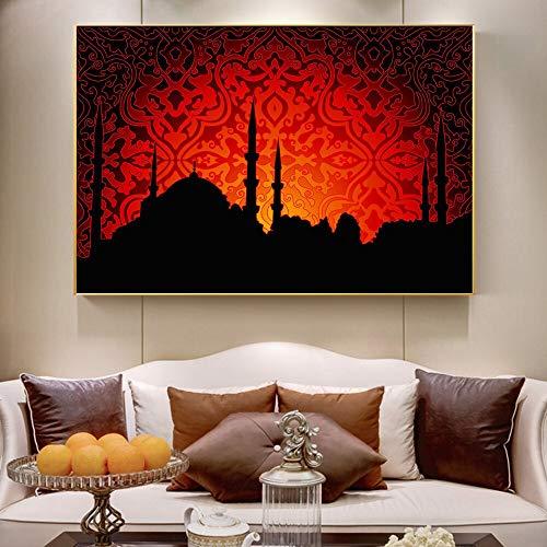 DIY 5D Diamant Malerei Kit 5D Diamantkunst,Allah muslimische islamische Moschee Hintergrundkarte Leinwand Kunst Gemälde Ramadan Moschee dekorative Poster und drucken Wandkunst Bilder