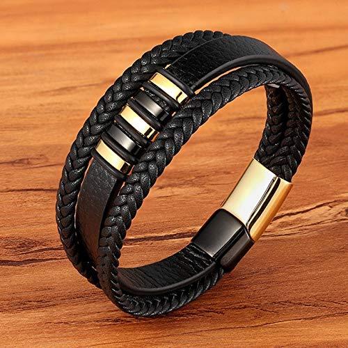 FIISH Moda de Acero Inoxidable magnético Negro Hombres Pulsera de Cuero Trenzado Punk Rock brazaletes Accesorios de joyería Amigo